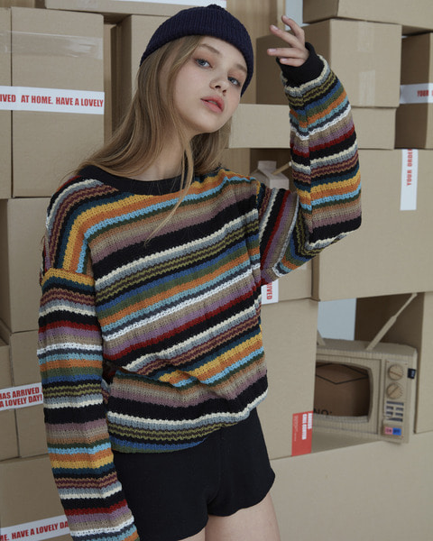 STRIPE KNIT MTM_BLACK