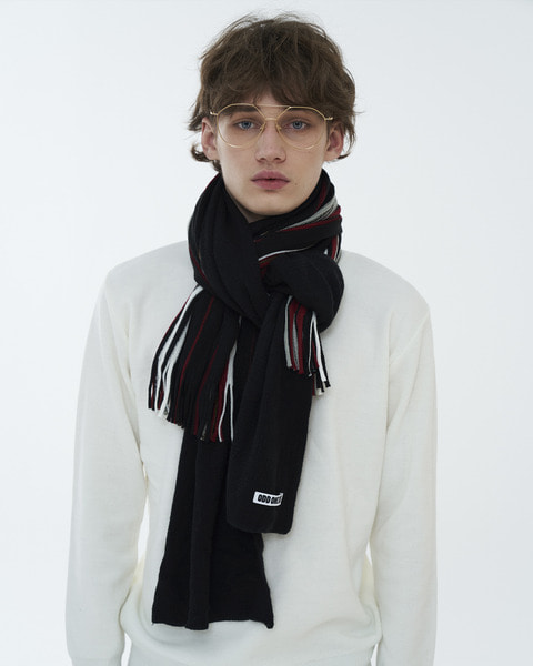 STRIPE MUFFLER_BLACK/RED