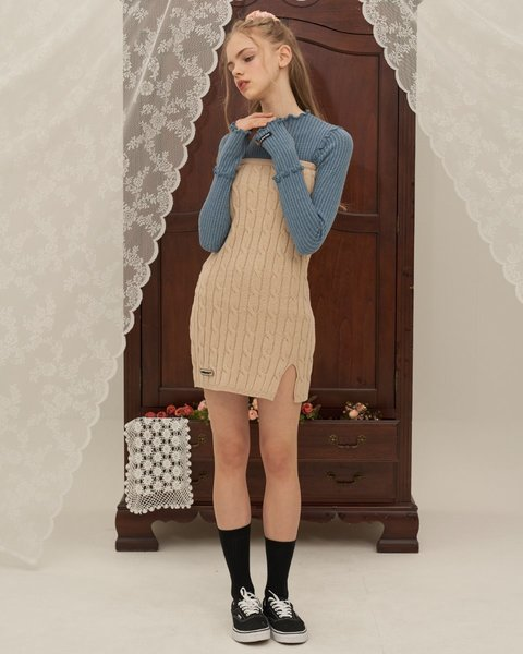 CABLE KNIT ONEPICE_BEIGE