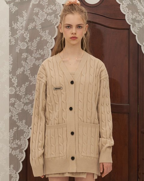 CABLE KNIT CARDIGAN_BEIGE