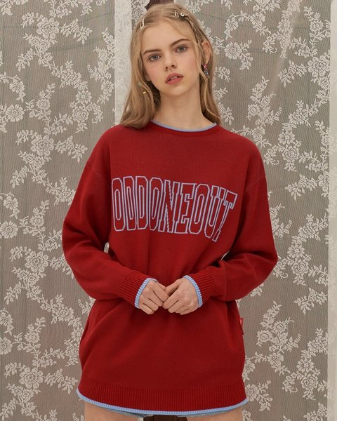 BIG LOGO COLOERD KNIT_RED