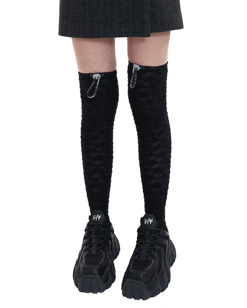 Stopper logo knee socks.U_black