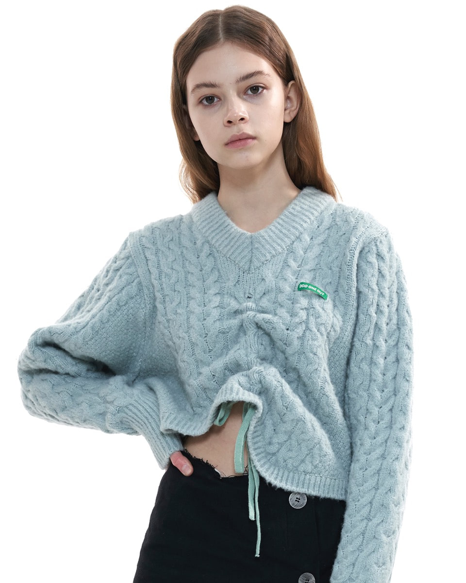 Twist unbalance string V neck knit_MT