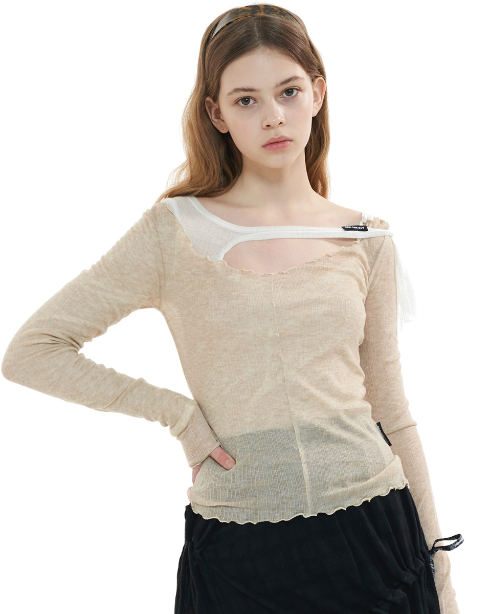 SEE through layered top SET_BEIGE