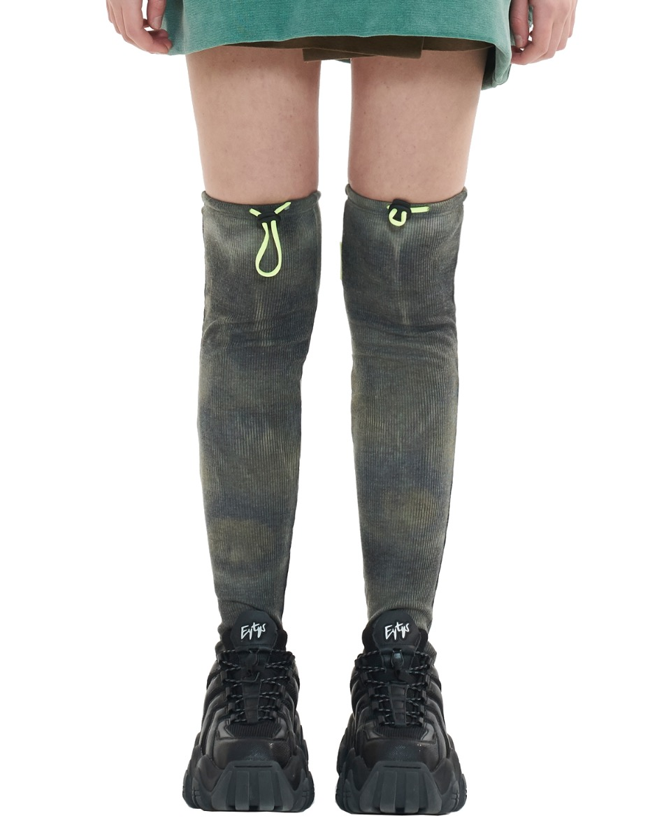 TIE DYE stopper knee socks_khaki