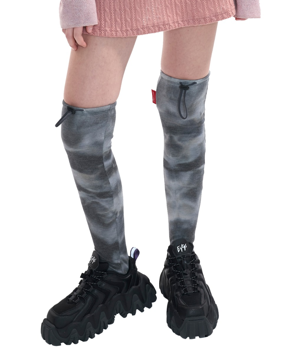 TIE DYE stopper knee socks_gray