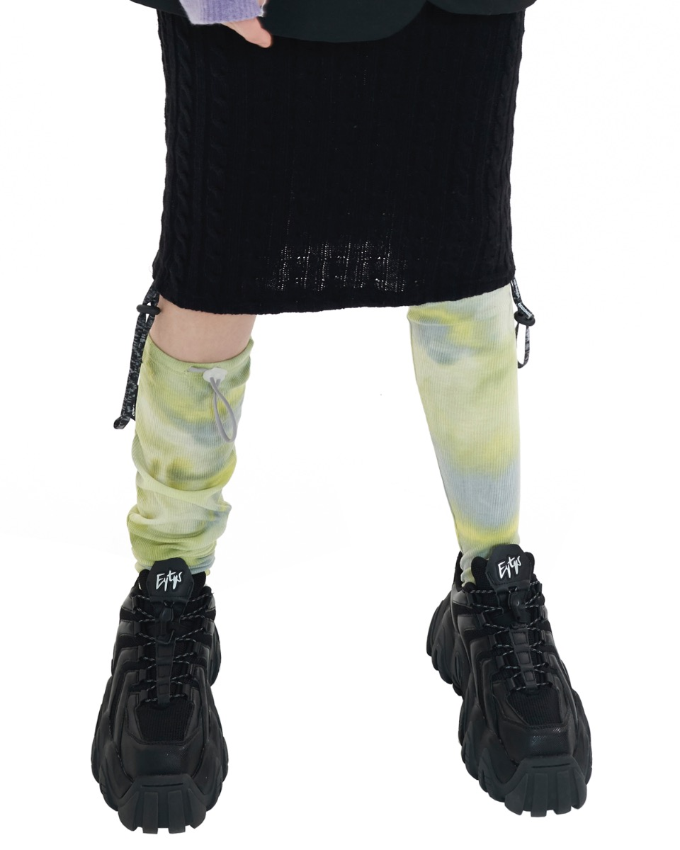 TIE DYE stopper knee socks_yellow