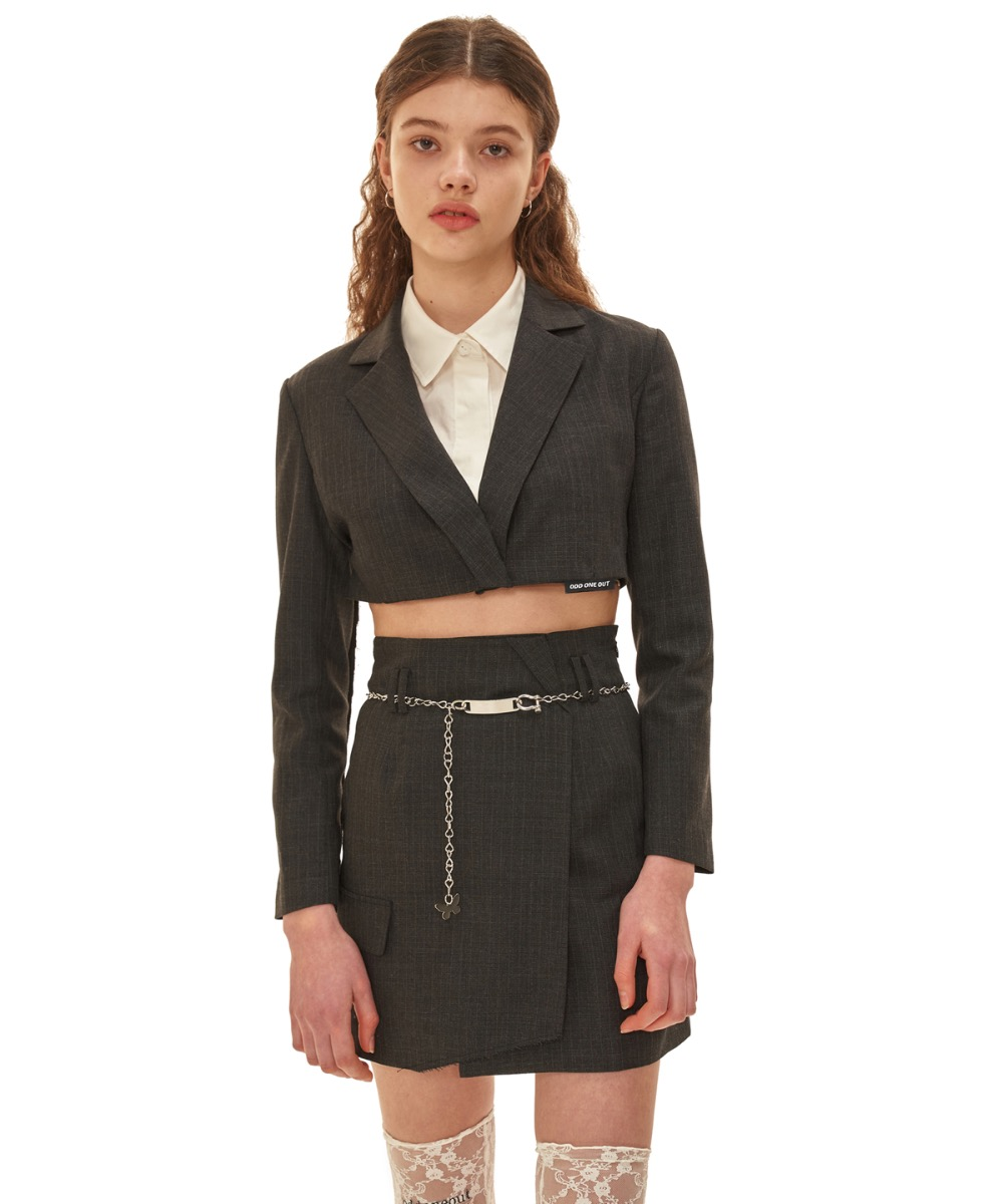 [30% BLACK FRIDAY SALE]  Two piece cutting crop jacket_GY