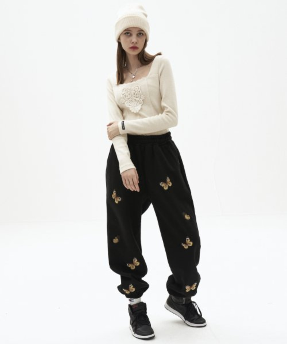 Butterfly needlework sweatpants_BK