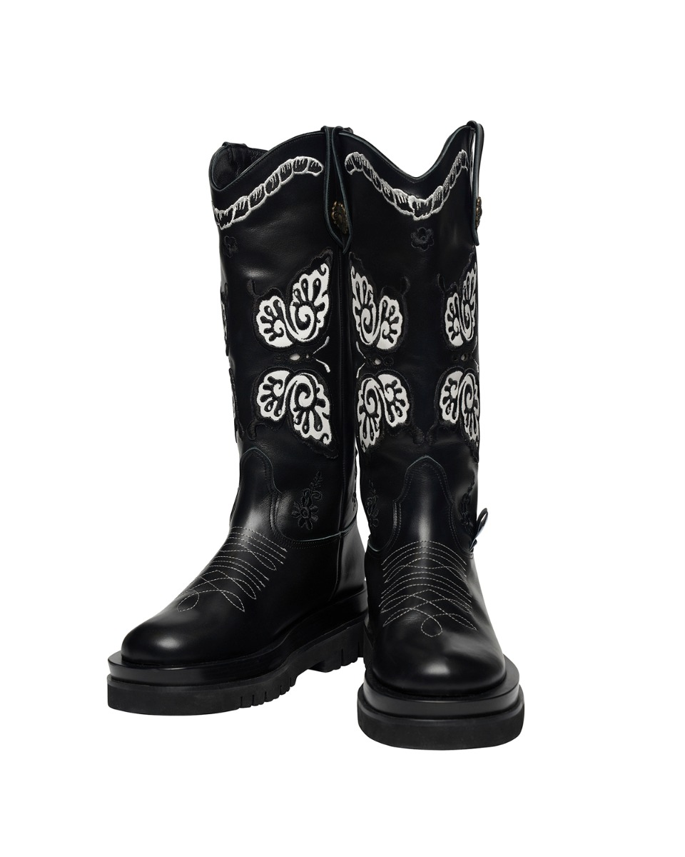 ODDONEOUT BUTTERFLY  WESTERN BOOTS_BK