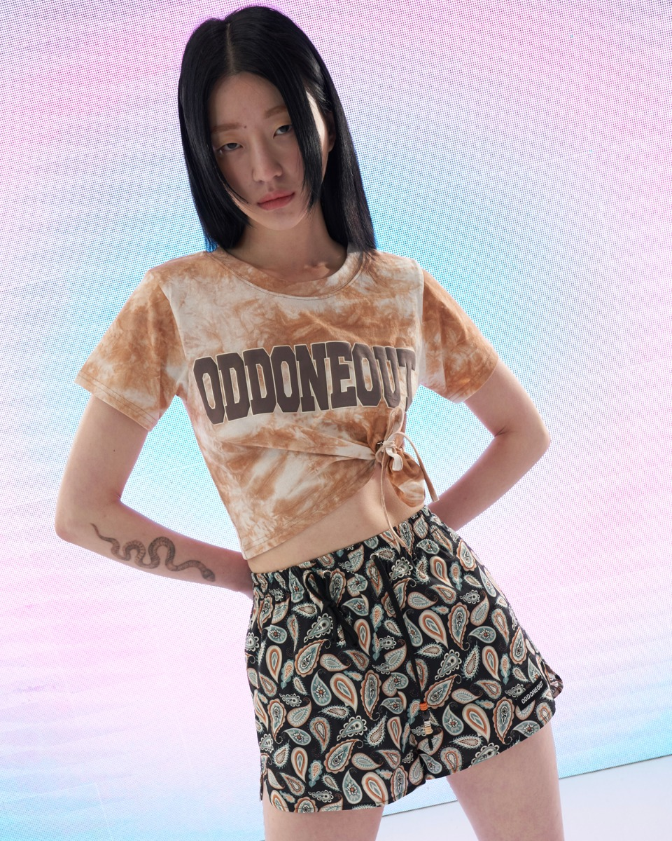 [ 4월 21일 예약배송 ] Tie-dye crop string T-shirts_Brown
