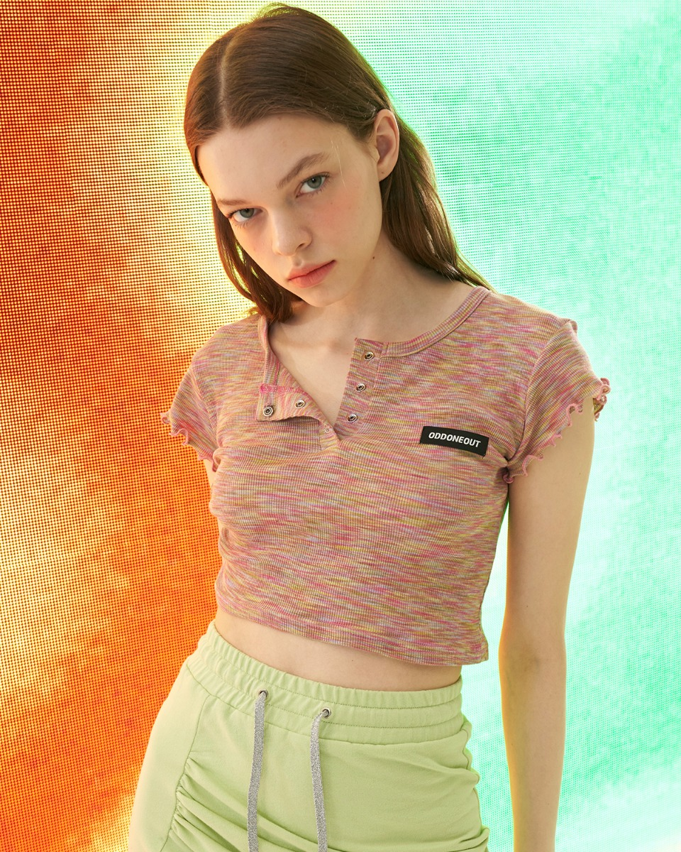 [ 4월 21일 예약배송 ] Mixed colored crop top_Pink