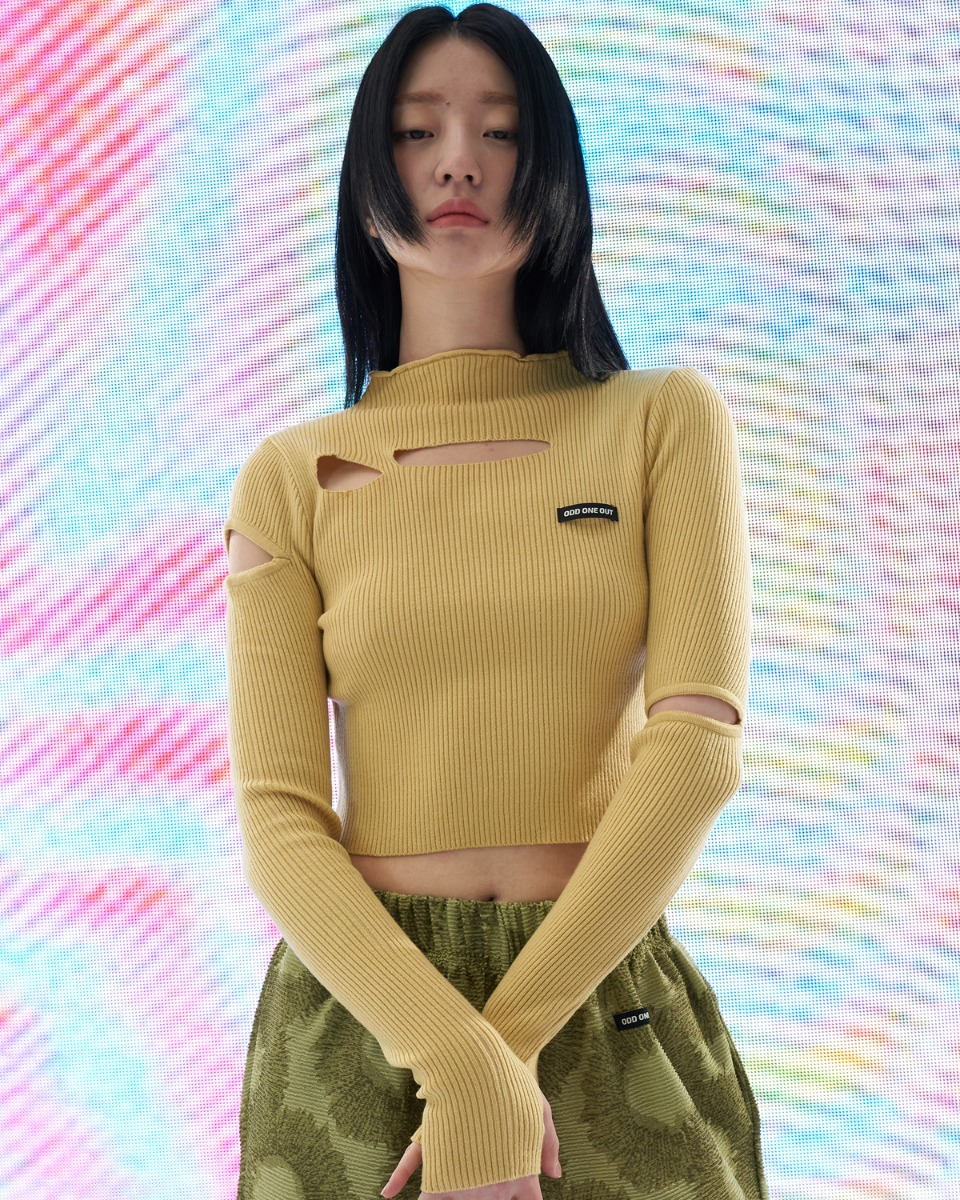 [ 4월 21일 예약배송 ] Damage crop knit_Yellow